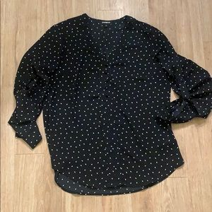 Express button down silk polka dotted blouse